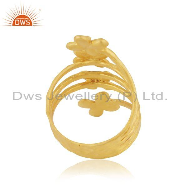 Exporter Leaf Design Yellow Gold Plated Brass Fashion Designer Ring Wholesaler
