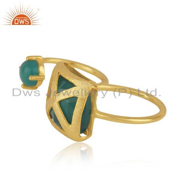 Exporter Designer Brass 18k Yellow Gold Plated Fashion Green Onyx Gemstone Ring Wholesale