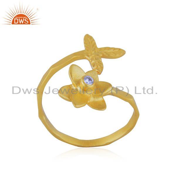 Exporter Handmade Leaf Floral Gold Plated Brass Fashion Ring Jewelry Supplier