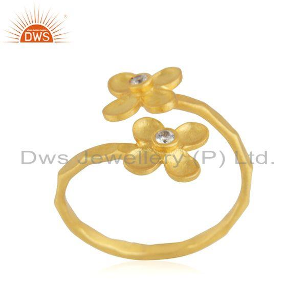 Exporter Floral Yellow Gold Plated Designer Brass Fashion Ring Jewelry