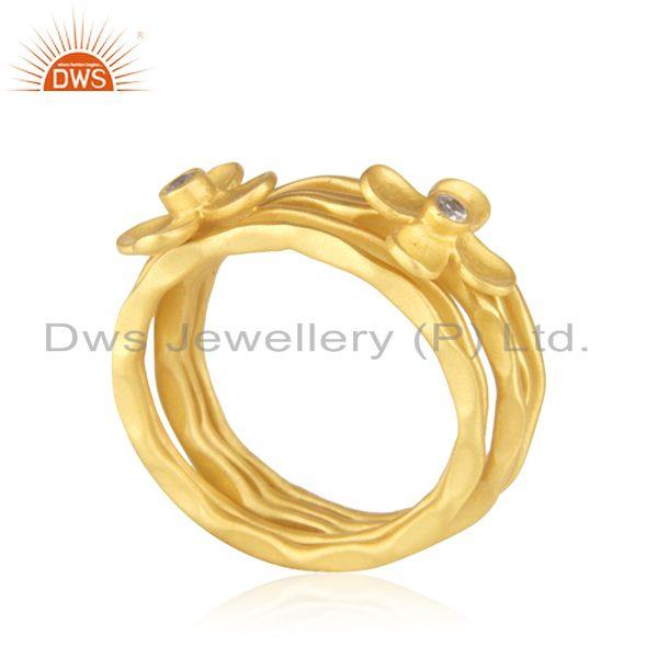 Exporter Manufacturer Gold Plated Designer Brass Fashion 5 Ring Set Jewelry