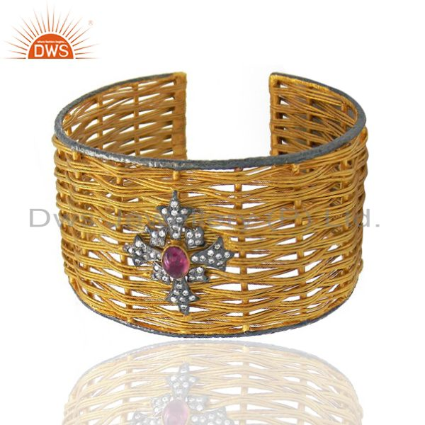 Exporter 22K Yellow Gold Plated Brass Pink Tourmaline And CZ Woven Wide Cuff Bangle
