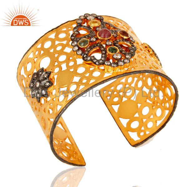 Exporter Hand-crafted 18K Yellow Plated Brass Filigree Design Cuff Bracelet With Tourmali