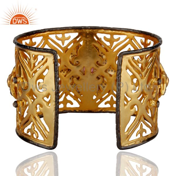 Exporter 14K Yellow Gold Plated Brass Pink Glass And Cubic Zirconia Wide Bangle Cuff