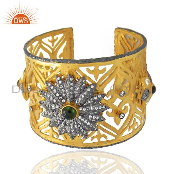 Exporter 22K Yellow Gold Plated Brass Green Tourmaline And CZ Filigree Wide Cuff Bracelet