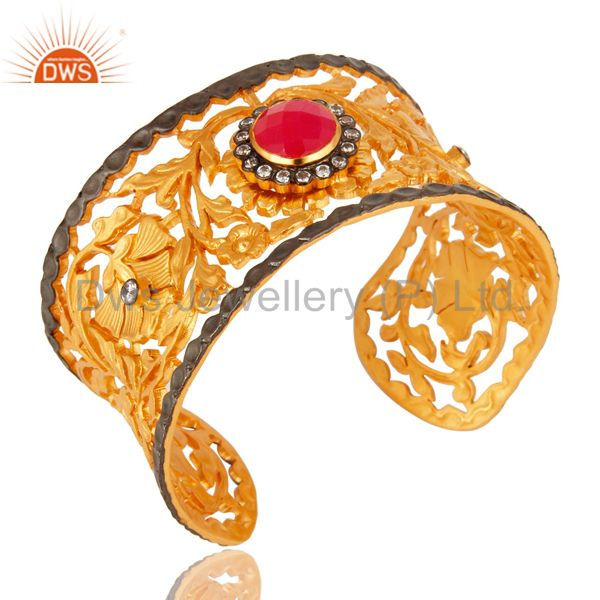 Exporter 18K Yellow Gold Plated Brass Leaf Filigree Cuff Bracelet With Peach Chalcedony