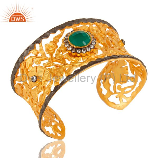 Exporter Green Onyx And White Zircon 18K Yellow Gold Plated Designer Cuff Bracelet