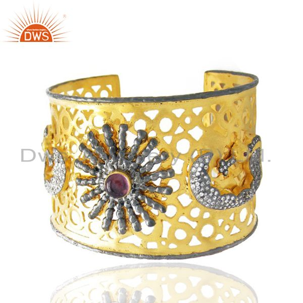 Exporter 22K Yellow Gold Plated Brass Pink Glass And CZ Filigree Peacock Cuff Bracelet