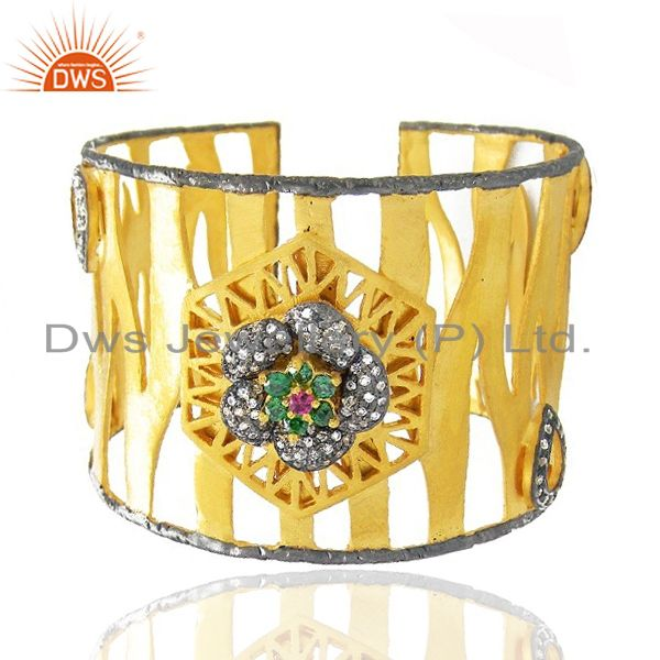 Exporter 22K Yellow Gold Plated Brass Multi CZ Designer Cuff Bracelet Wide Bangle
