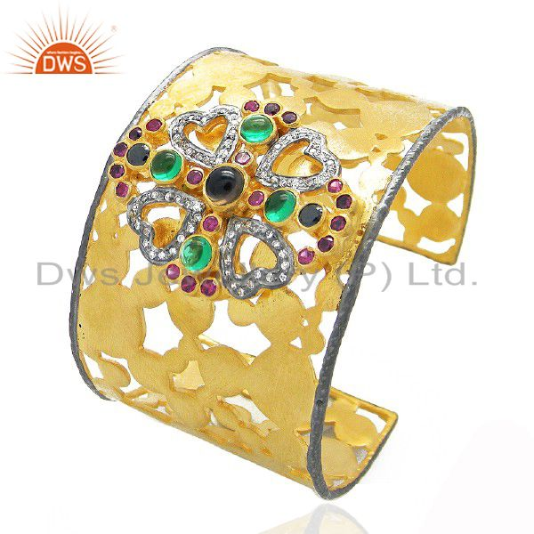 Exporter 22K Yellow Gold Plated Brass Smoky Quartz And CZ Bridal Fashion Cuff Bracelet