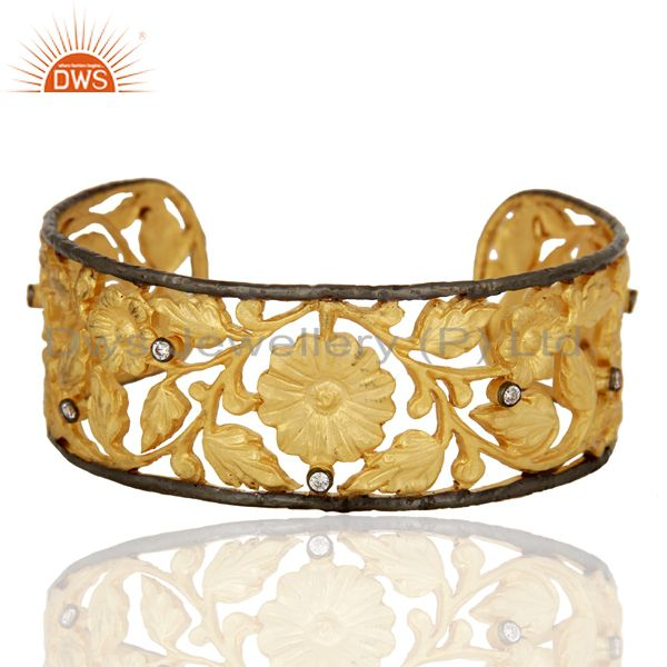 Exporter 22K Yellow Gold Plated Brass CZ Floral Filigree Fashion Cuff Bracelet Bangle