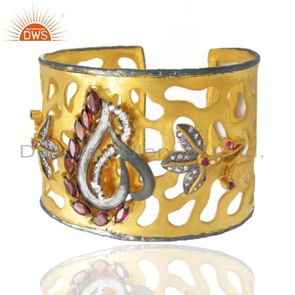 Exporter Handcrafted Gold Plated Garnet And CZ Floral Cuff