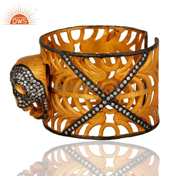 Exporter 18K Yellow Gold Plated On Brass Clear Cubic Zirconia Skull Cuff Bangle Bracelet
