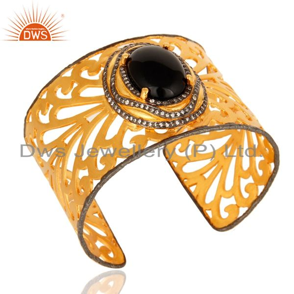 Exporter Hand-crafted 18K Gold-Plated Brass Filigree Cuff Bracelet With Black Onyx & CZ