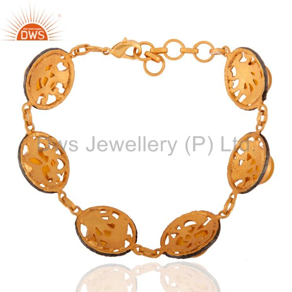 Exporter Dyed Yellow Chalcedony Gold Plated Brass Adjustable Bracelet Jewelry