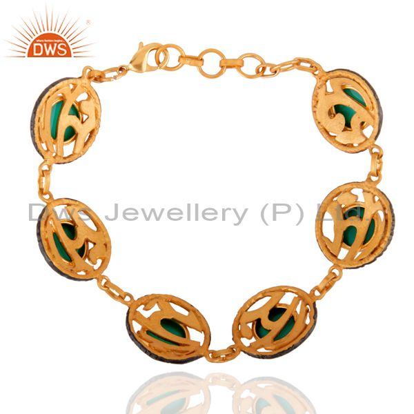 Exporter Indian Handcrafted 24k Gold Plated Green Onyx Gemstone 8.50