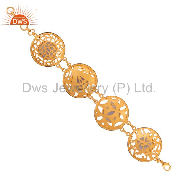 Exporter Amazing Natural Fire Opal Indian Crafted 18K Yellow Gold gp Ladies Fashion Brace