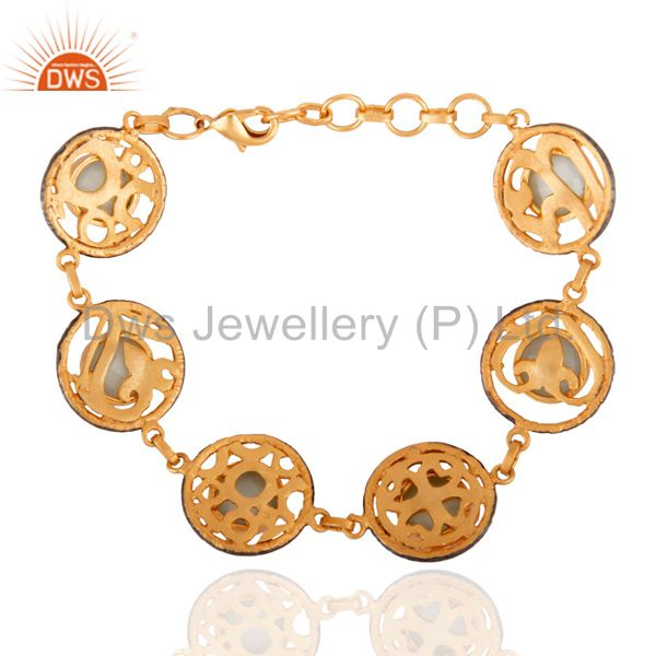 Exporter 18K Yellow Gold Plated Brass Faceted Chalcedony Gemstone Bracelet