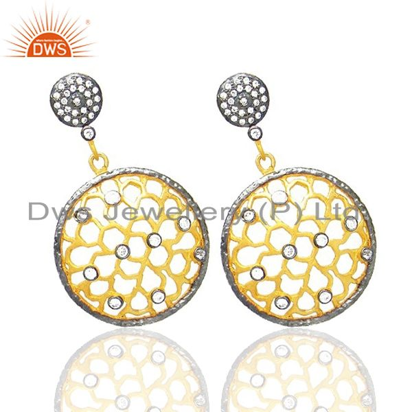 Exporter 18K Yellow Gold Plated Brass Cubic Zirconia Filigree Designer Dangle Earrings