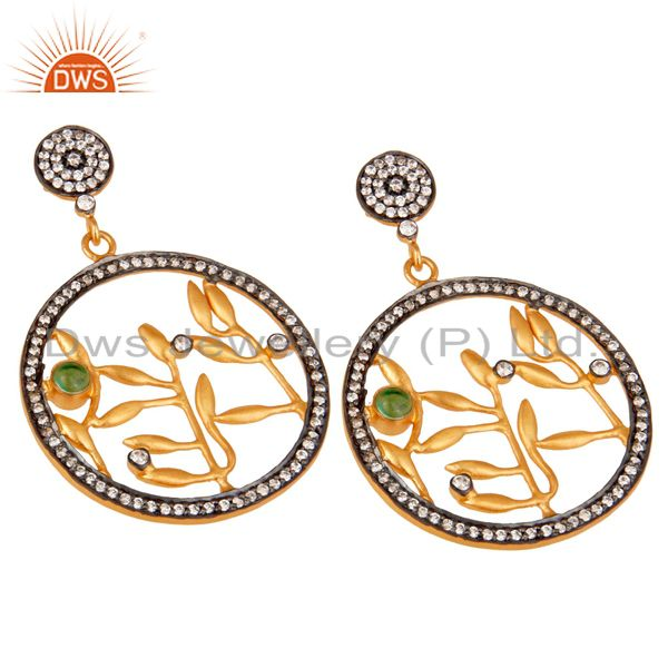 Exporter Handmade Pave Zircon 18 k Yellow Gold Plated Fashion Dangle Earrings