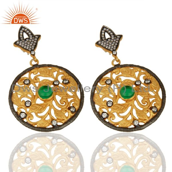 Exporter 24K Yellow Gold Plated Green Tourmaline And CZ Leaf Design Dangle Earrings