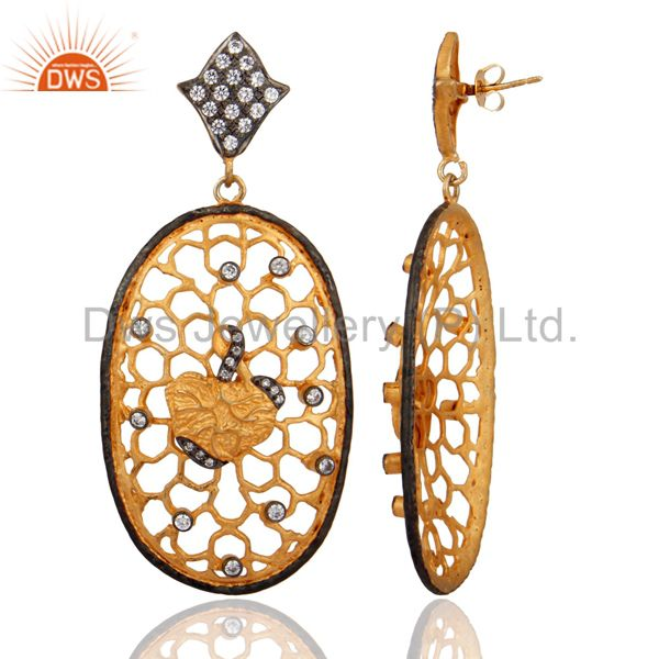 Exporter Handmade Gold Plated Cubic Zirconia Dangle Earring