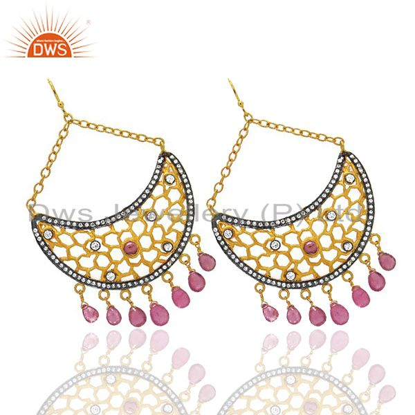 Exporter 18K Yellow Gold Plated CZ And Pink Tourmaline Half Moon Chandelier Earrings
