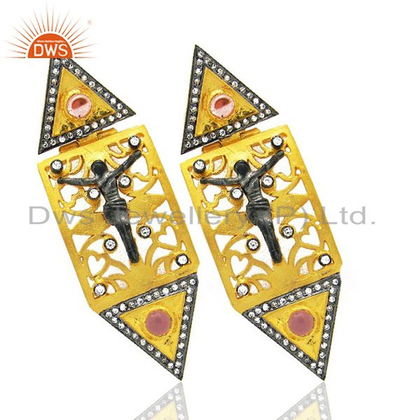 Exporter 18K Yellow Gold Plated CZ And Pink Glass Jesus Christians Dangle Earrings