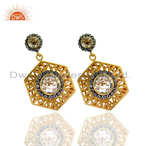 Exporter 18K Yellow Gold Plated Brass CZ And Crystal Quartz Designer Dangle Earrings
