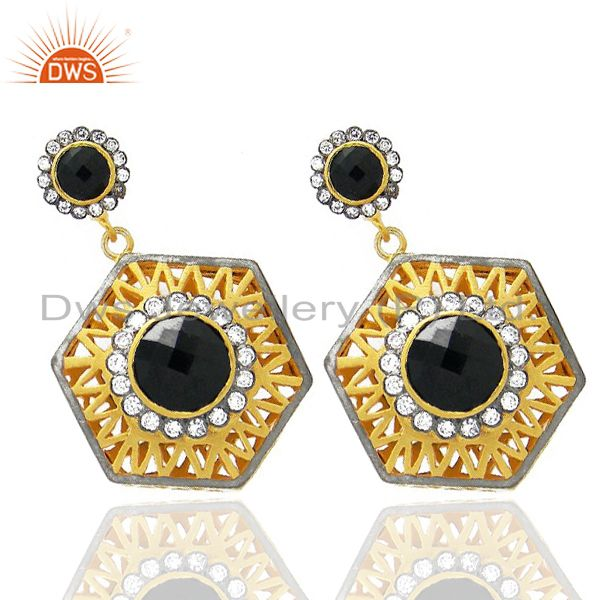 Exporter 18K Yellow Gold Plated Brass CZ And Black Onyx Designer Dangle Earrings