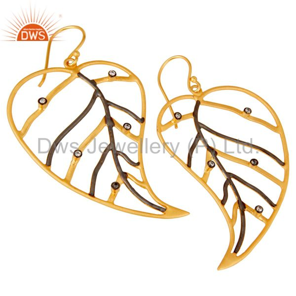 Exporter 18K Yellow Gold Plated Cubic Zirconia Pan Leaf Design Dangle Brass Earring