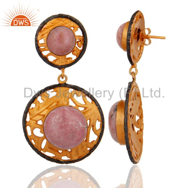 Exporter Rhodonite Gemstone 22k Yellow Gold Plated Dangle Earring Indian Fashion Jewelry