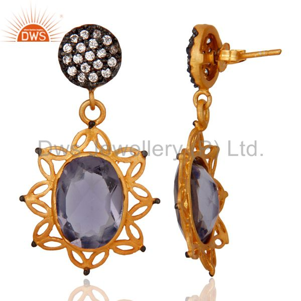 Exporter Handmade Hydro Iolite Gemstone 22K Yellow Gold Plated Dangle Earrings With CZ