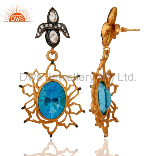 Exporter Handmade Synthetic Blue Topaz Gemstone & White Zircon 18k Gold Plated Earrings