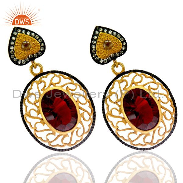Exporter 22K Yellow Gold Plated Brass Red Ruby Glass And CZ Designer Dangle Earrings