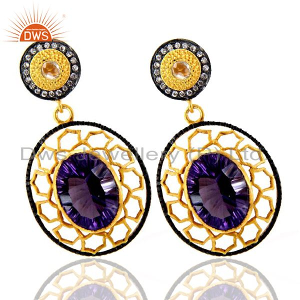 Exporter 22K Yellow Gold Plated Brass Hydro Amethyst And CZ Designer Dangle Earrings