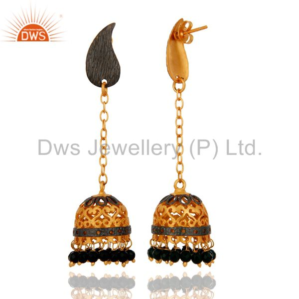 Exporter Antique 18K Gold Plated Natural Black Onyx Gemstone Beads Jhumka Hanging Earring