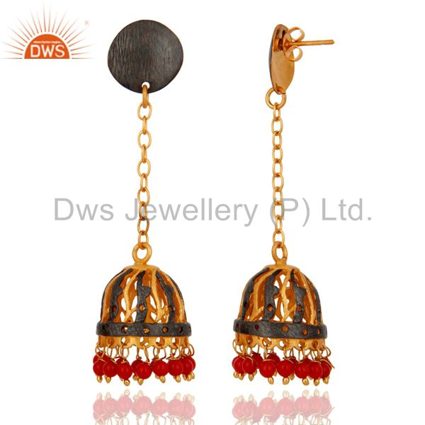Exporter Handmade 18K Gold Plated Red Coral Gemstone Indian Designer Earrings For Women