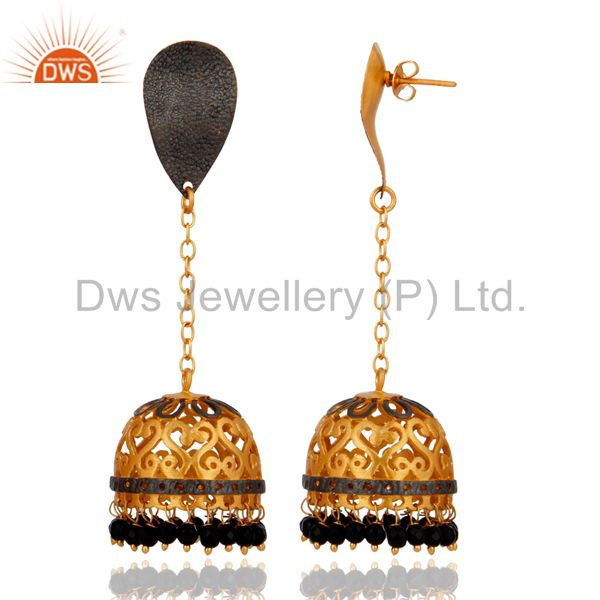 Exporter Handmade Natural Red Coral Gemstone 14K Gold Plated Indian Fashion Earrings