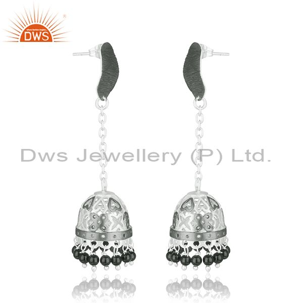 Exporter Handmade Brass Fashion Black Onyx Gemstone Jhumka Earrings Supplier Jaipur India