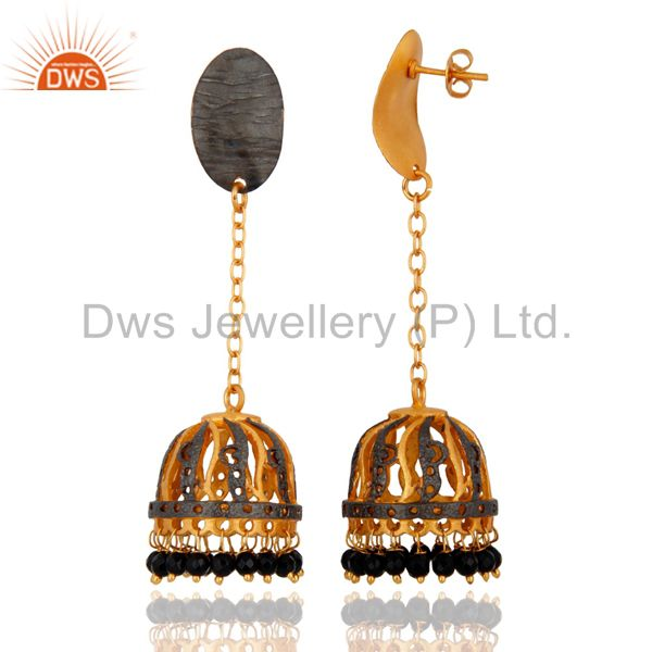 Exporter Black Onyx Gemstone Beads 18K Yellow Gold Plated Bollywood Jhumka Earrings-India