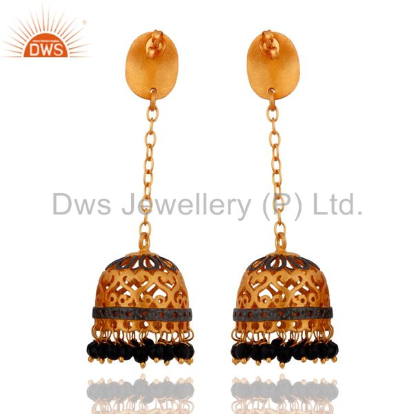 Exporter 22k Gold Plated Black Onyx Gemstone Indian Traditional Designer Jhumka Earrings