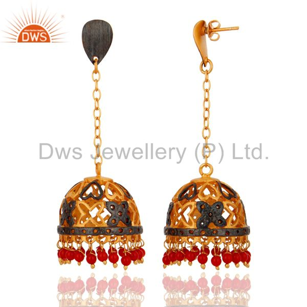 Exporter Red Coral Gemstone 18K Gold Plated Womens Earrings Designer Imitation Jewelry