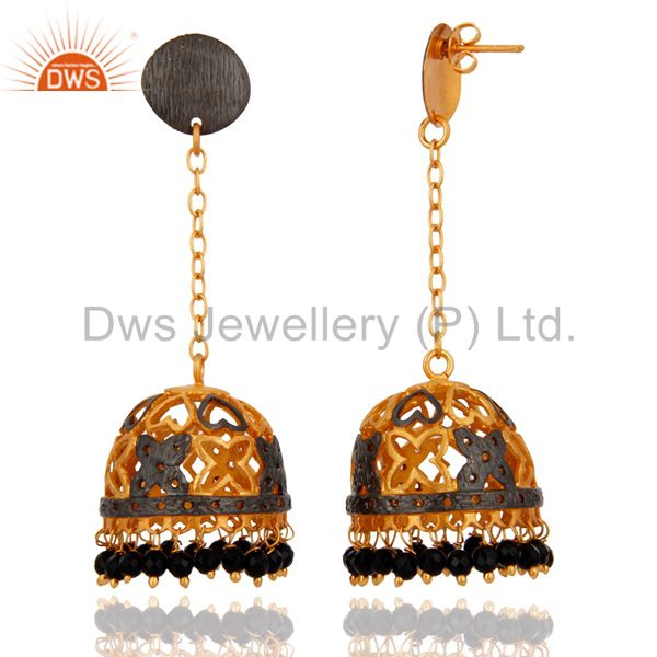 Exporter Bollywood Traditional Wedding Jewelry 18K Gold Plated Black Onyx Jhumka Earrings
