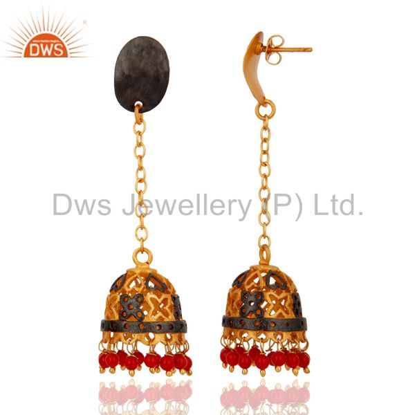 Exporter Red Coral Gemstone Jhumka Earrings Gold Plated Womens Imitation Jewelry