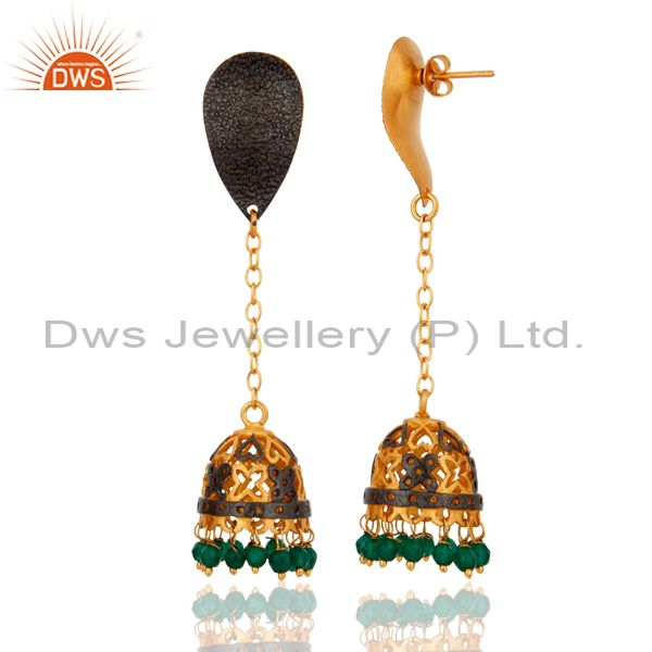 Exporter 18K Yellow Gold Plated Green Onyx Gemstone Jhumka Design Earrings