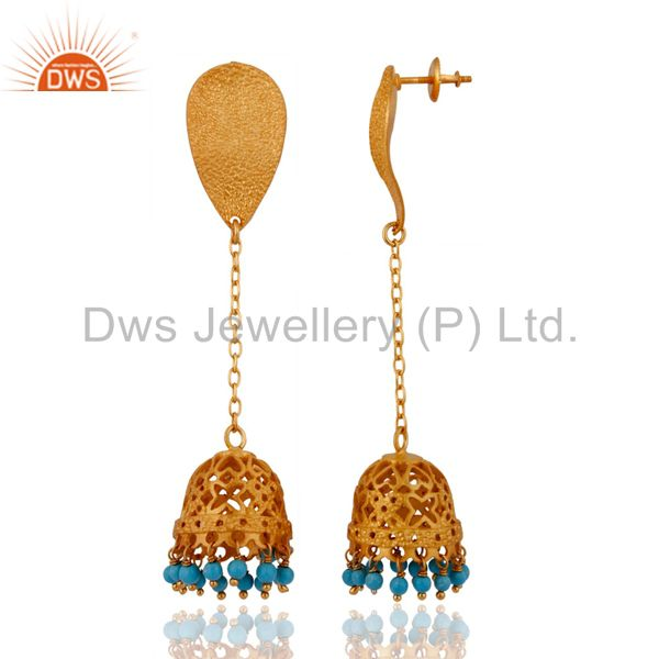Exporter 18k Gold Plated 925 Sterling Silver Turquoise Gemstone Beads Dangle Earrings