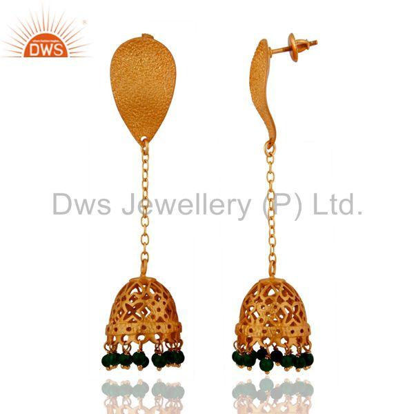Exporter 24k Gold Over 925 Sterling Silver Green Onyx Beads Stone Fashion Dangle Earrings