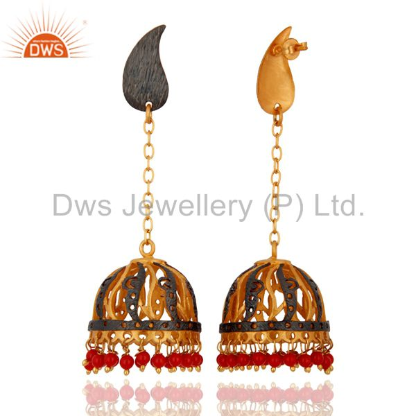 Exporter Indian Traditional Designer 18k Gold Yellow Gold Plated Red Coral Dangle Earring
