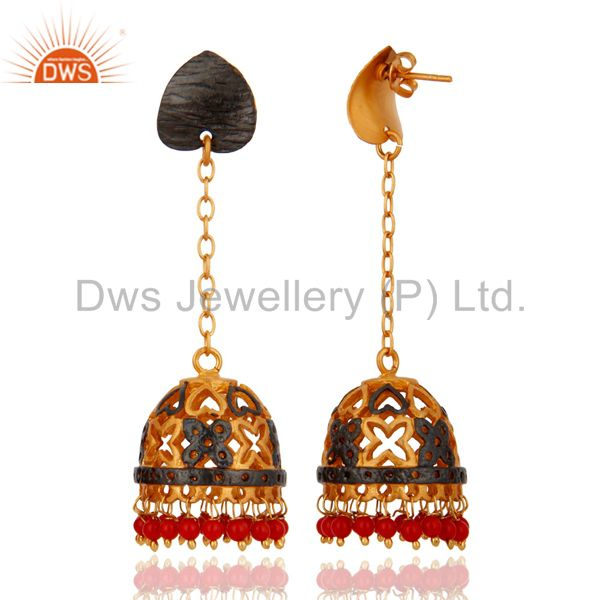 Exporter 24-Karat Gold Plated Red Coral Indian Traditional Earring Jewelry For Womens